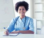 medicine, people and healthcare concept - happy female african
